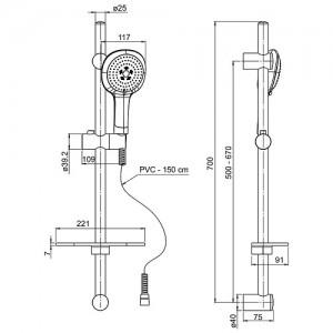 Душевая стойка Paini 50CR124/P18 хром