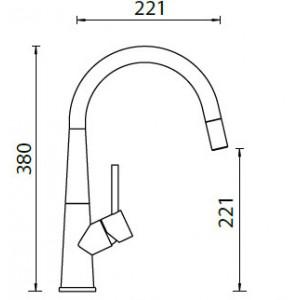 Смеситель Schock Conos-D выдвижной излив, нержавеющая сталь