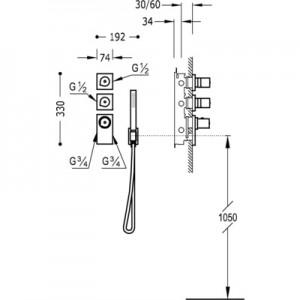 Tres Block system 20635391 хром для душа/ванны