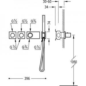 Tres Block system 20735491 хром для душа/ванны