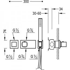 Tres Block system 20725291 хром для душа/ванны