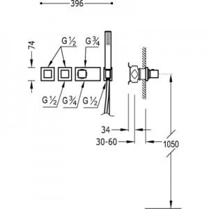 Tres Block system 20725391 хром для душа/ванны