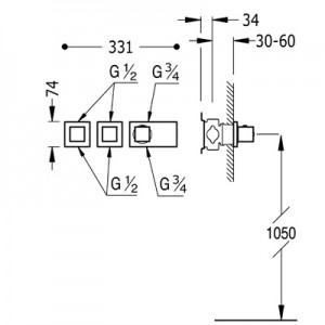 Tres Block system 20725399 хром для душа/ванны
