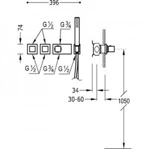 Tres Block system 20725491 хром для душа/ванны