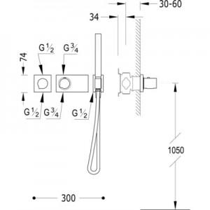 Tres Block system 20735291 хром для душа/ванны