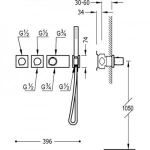 Tres Block system 20735391 хром для душа/ванны