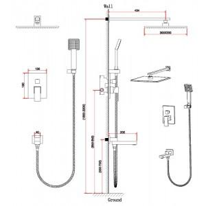 Душевая система Bennberg 140111 бронза, встраиваемая