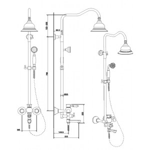 Душевая система Bennberg 160818 бронза