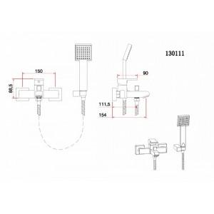 Смеситель Bennberg 130111 для ванны, бронза