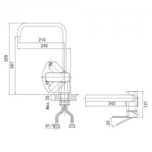 Смеситель D&K Altportel Rhein DA1332401 для кухни хром