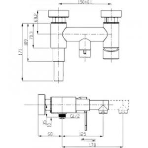 Смеситель Elghansa Dynamic 2336338 для ванны с д/к хром