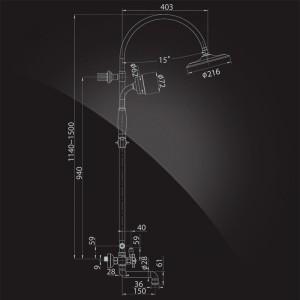 Душевая система Elghansa PRAKTIC Chrome 2302660-2F со стационарной лейкой хром