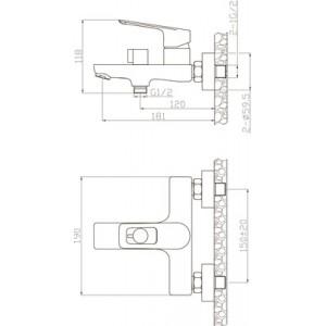Смеситель Elghansa Brunn New 2382306 для ванны с д/к хром