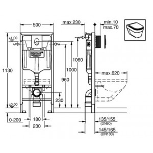 Система инсталляции Grohe Rapid SL 38721001 3 в 1 с кнопкой смыва для унитазов