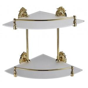 Полка со стеклом двойная угловая Hayta 13910-2 Gold