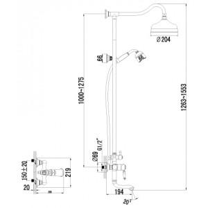 Душевая система Lemark Villa LM4862B для ванны