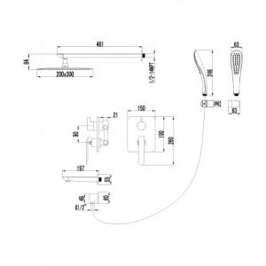 Душевая система Lemark Melange LM4922CW для ванны