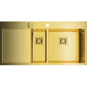 Мойка Omoikiri Akisame 100-2-LG R светлое золото, чаша справа