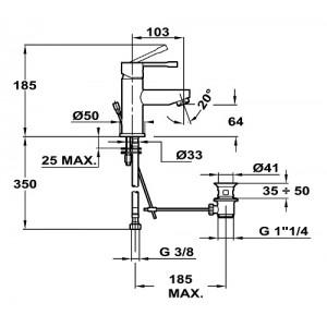 Teka Alaior 553420200 хром для умывальника с мет. донным клапаном