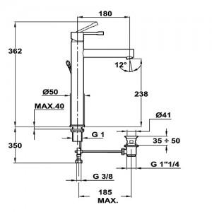Teka Alaior xl 553620210 хром для умывальника с донным клапаном