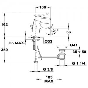 Teka Ares 233420210 хром для умывальника с мет. донным клапаном