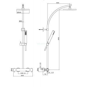 Душевая система Teka Pacific Plus 772380230 с термостатическим смесителем