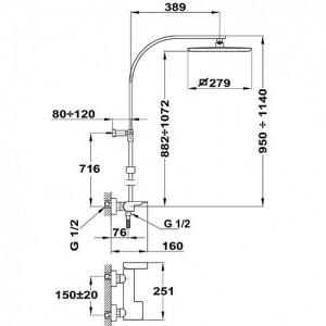Душевая система Teka Formentera 622980200 co смесителем