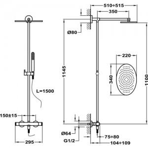 Душевая система Teka ICON 332380200 с термостатом