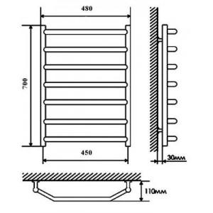 Полотенцесушитель электрический Terminus Виктория 45*70 см