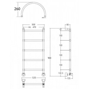 Полотенцесушитель Margaroli Sole 442 водяной с аркой, хром 4424705CRNA