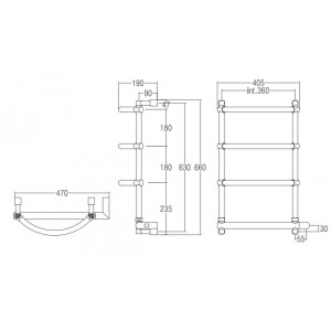 Полотенцесушитель Margaroli Luna 532-4 электрический, хром 5323704CRNB