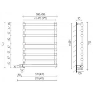 Полотенцесушитель Margaroli Sole 564-8 электрический, хром 5644708CRNB