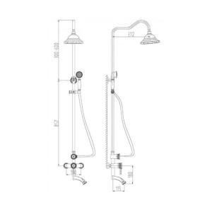 Душевая система Zorg A 102DS-BR бронза