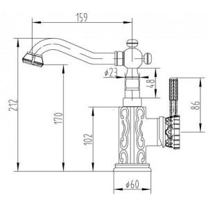 Смеситель Zorg A 111U-BR бронза для умывальника