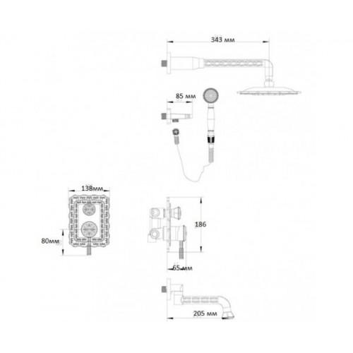 Душевая система Zorg A 104DS-BR бронза