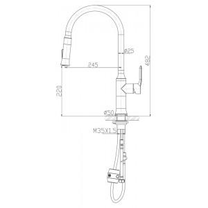 Смеситель BelBagno BB-LAM38-IN для кухни хром