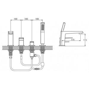 Смеситель BelBagno Arlie ARL-VIM4-CRM для ванны хром