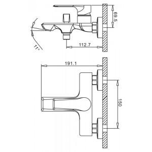 Смеситель BelBagno Bocco BOC-VASM-CRM для ванны хром