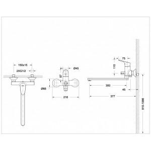 Bravat Drop F64898C-L хром для ванны