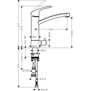 Смеситель Hansgrohe Focus HG-31803000 для кухни хром