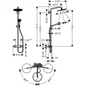 Душевая система Hansgrohe Croma Select HG-26790000 хром