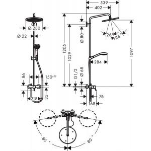 Душевая система Hansgrohe Croma Select HG-26791000 хром