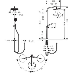 Душевая система Hansgrohe Croma Select HG-26793000 хром