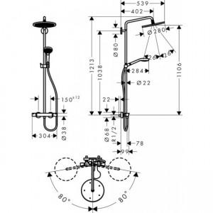 Душевая система Hansgrohe Croma Select HG-26794000 хром