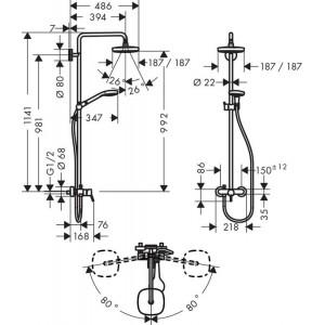 Душевая система Hansgrohe Croma Select E HG-27258400 хром