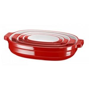 Набор керамических кастрюль KitchenAid KBLR04NSER красный