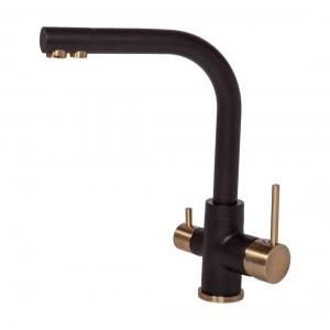 Смеситель Paulmark Essen Es213011-308-BR для кухни с изливом для фильтра черный, бронза