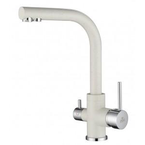 Смеситель Paulmark Essen Es213011-331 для кухни с изливом для фильтра белый, хром