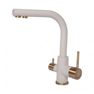 Смеситель Paulmark Essen Es213011-331-BR для кухни с изливом для фильтра белый, бронза