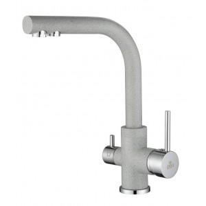 Смеситель Paulmark Essen Es213011-310 для кухни с изливом для фильтра серый, хром